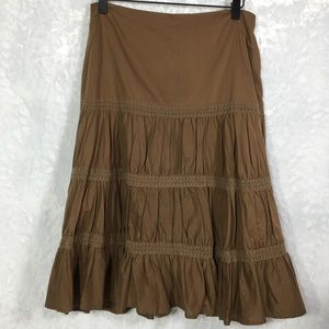 Nicole Miller brown mid-length tiered skirt boho 6